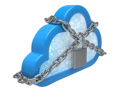 remote lock: Cloud computing, security concept on white