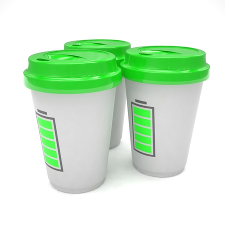 coffee cups: Three paper coffee cups