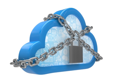 secured: Cloud computing, security concept on white