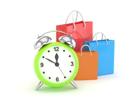 buy time: alarm clock and shopping bag (time to buy concept)