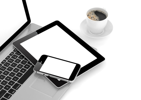 laptop mobile: Laptop, phone, tablet pc and coffee. 3D rendering.