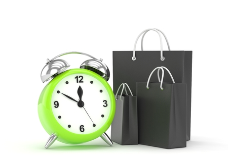 buy time: alarm clock and shopping bag (time to buy concept). 3D rendering.