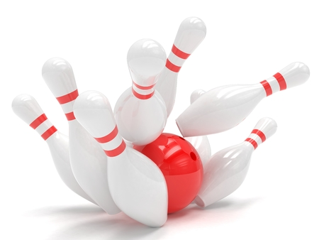 skittles: Bowling ball and skittles isolated. 3D rendering. Stock Photo