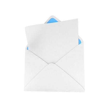 e new: open mail with white blank. 3D rendering.