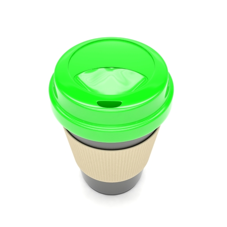 take out food: Coffee to go on white. 3D rendering. Stock Photo