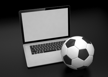 betting: laptop and soccer football ball. on line soccer betting concept. 3D rendering.