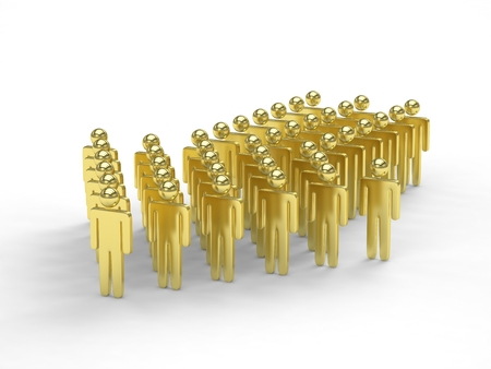 follow the leader: Many 3d people figure in arrow shape with the leader in front. 3D rendering. Stock Photo