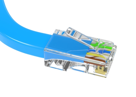 rj45: wire rj-45 on a white background, isolated. 3D rendering.