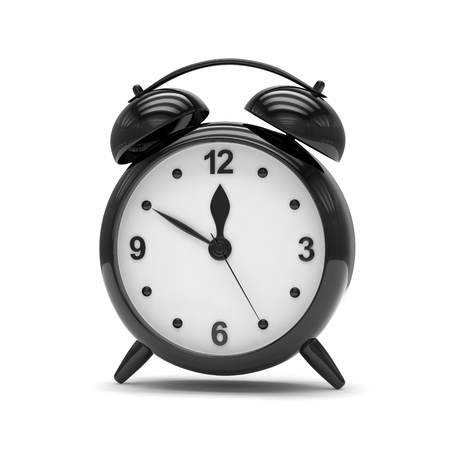 alarm clock: Black alarm clock on white. 3D rendering.