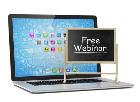 free education: Laptop with chalkboard, free webinar, online education concept. 3D rendering. Stock Photo