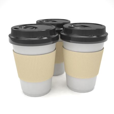 take out: Three paper coffee cups. 3D rendering. Stock Photo
