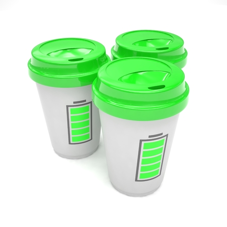take out food container: Three paper coffee cups. 3D rendering. Stock Photo