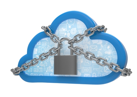 remote lock: Cloud computing, security concept on white. 3D rendering. Stock Photo