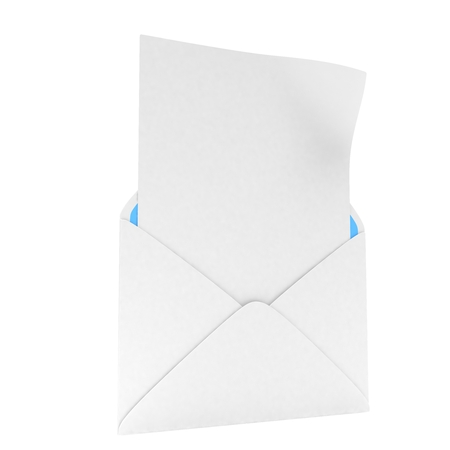 e mailing: open mail with white blank. 3D rendering.