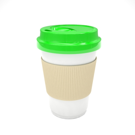 take out food container: Coffee to go on white. 3D rendering. Stock Photo