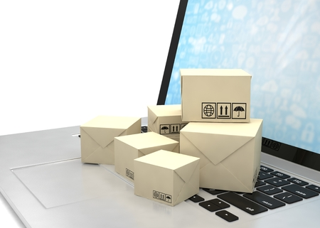 corrugated box: Technology business concept, shipping: cardboard package boxes on laptop. 3D rendering.
