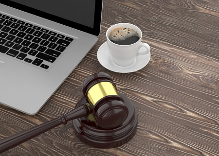 courthouse: Gavel, laptop and coffee. 3D rendering.
