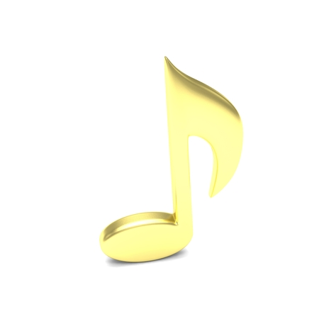 single songs: music note on white. 3D rendering.