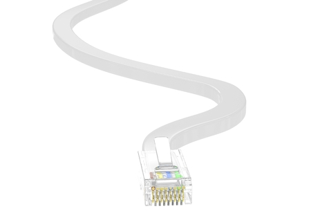 network connection plug: wire rj-45 on a white background, isolated. 3D rendering.