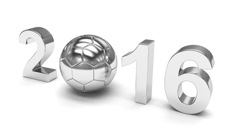 3d ball: New Year 2016 and soccer ball. 3D rendering. Stock Photo