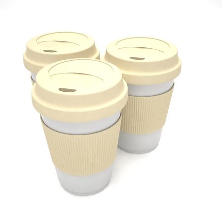 Three paper coffee cups. 3D rendering. Stock Photo