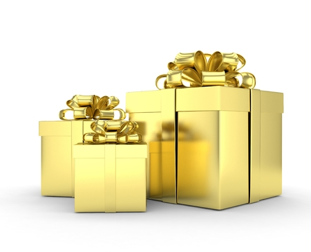 white boxes: three gift boxes with bows isolated on white. 3D rendering.
