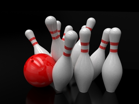 alleys: Bowling ball and skittles isolated. 3D rendering. Stock Photo
