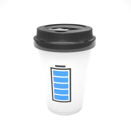 take out: Coffee to go on white. 3D rendering. Stock Photo