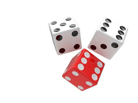 dices: three dices on white background. 3D rendering. Stock Photo