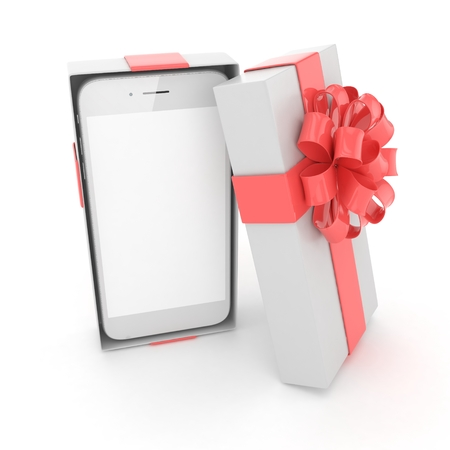 gift paper: Smartphone in gift box. Isolated on white background. 3D rendering. Stock Photo
