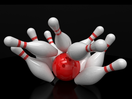 bowling strike: Bowling ball and skittles isolated. 3d rendering.