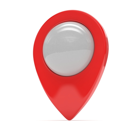 red  pointer: red map pointer isolated. 3d rendering. Stock Photo