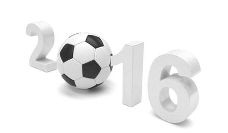 3d ball: New Year 2016 and soccer ball. 3d rendering.