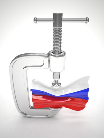 tense: Russias flag in clamp, crisis, sanction concept. 3d rendering.