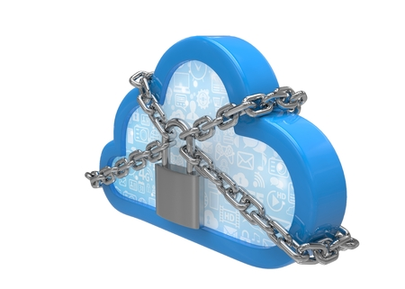 remote lock: Cloud computing, security concept on white. 3d rendering.