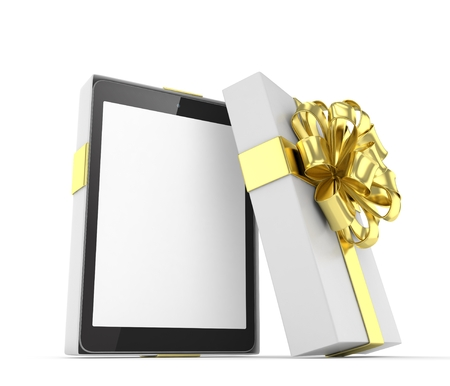 christmas present: Tablet in white gift box with golden bow and ribbons on white. 3D rendering.