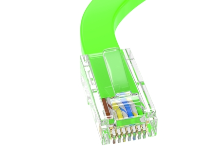 dsl: wire rj-45 on a white background, isolated. 3d rendering.