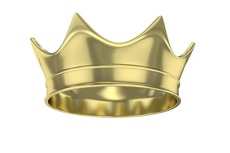 emperor: Simple golden royal crown on white. 3D rendering.