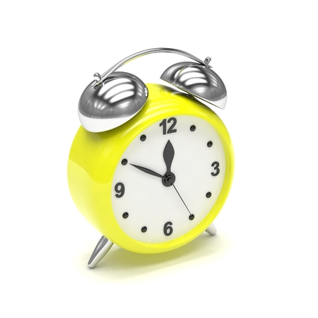 alarmclock: Yellow alarm clock on white. 3d rendering.