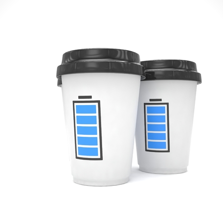 take out food container: Three paper coffee cups. 3d rendering.