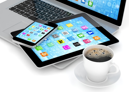 mocca: Laptop, phone, tablet pc and coffee. 3d rendering.