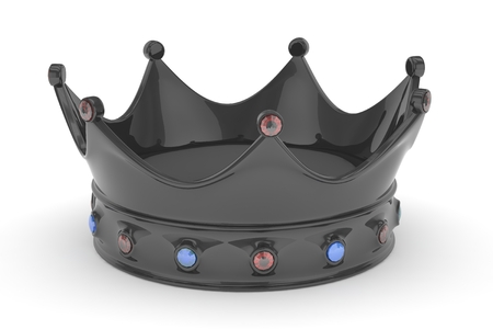 jeweled: Black royal crown with blue and red gems on white. 3D rendering. Stock Photo