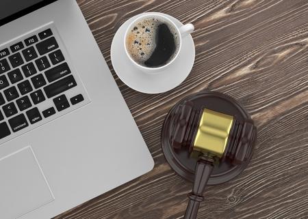 lawsuit: Gavel, laptop and coffee. 3d rendering.