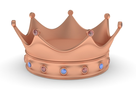 jeweled: Bronze royal crown with blue and red gems on white. 3D rendering.
