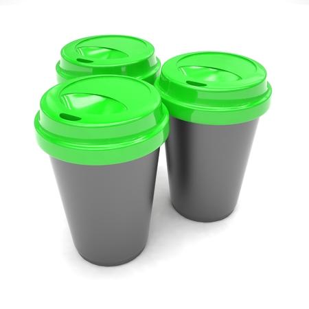 Three paper coffee cups. 3d rendering.