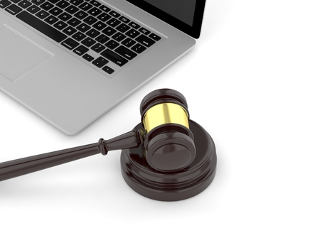 lawsuit: Gavel and laptop. 3d rendering.