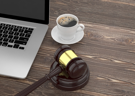 lawsuit: Gavel, laptop and coffee. 3d rendering.