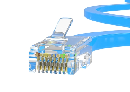 networking cables: wire rj-45 on a white background, isolated. 3d rendering.