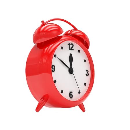 alarmclock: red alarm clock on white. 3d rendering.