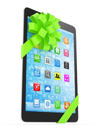 fiestas electronicas: Black tablet with green bow and icons. 3D rendering.